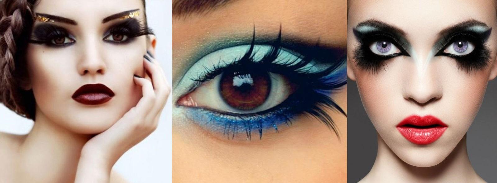 Праздничный макияж глаз с перьями