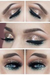 Праздничный макияж на новый год для голубых или серых глаз