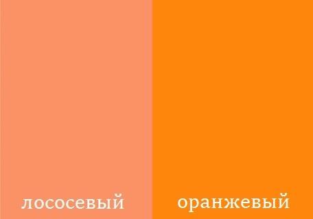 Лососевый и ярко-оранжевый цвет для определения цветотипа внешности
