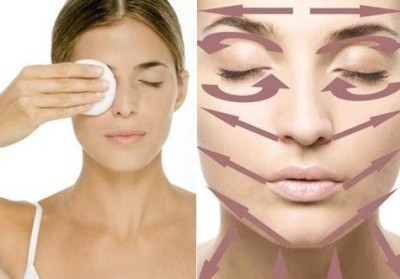 Снятие макияжа по массажным линиям