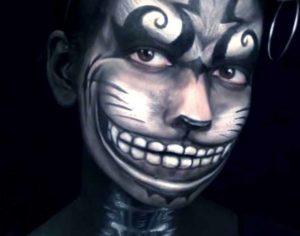 Брутальный макияж Чеширского кота на Хэллоуин