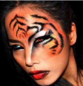 Женский макияж тигра