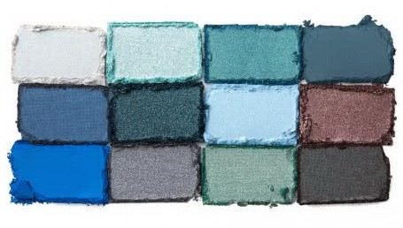 Коллекция оттенков в палетке In Your Element Shadow Palette Water от NYX