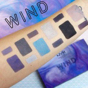 Свотчи оттенков палетки In Your Element Shadow Palette Wind от NYX с базой