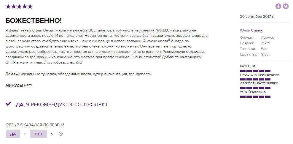 Отзывы на палетку Naked Heat от Urban Decay с официального сайта