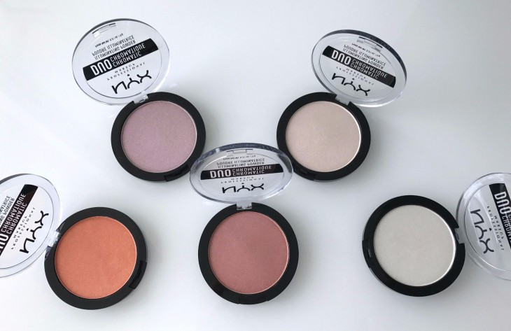 Оттенки хайлайтеров Duo Chromatic Illuminating Powder от NYX Professional Makeup