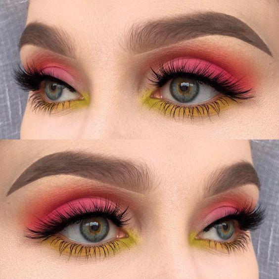 Макияж глаз в технике color block