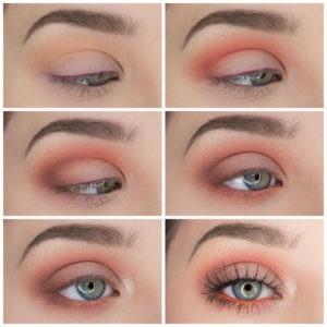 Пошаговый урок по созданию кораллового макияжа глаз