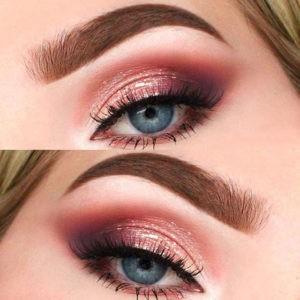 Персиковый макияж для голубых глаз палеткой Sweet Peach от Too Faced