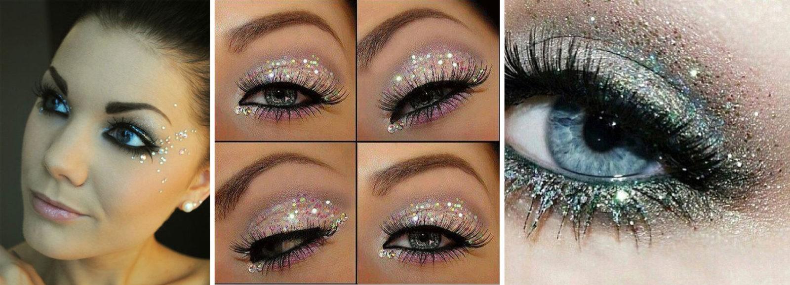 Новогодний макияж глаз с блестками и стразами