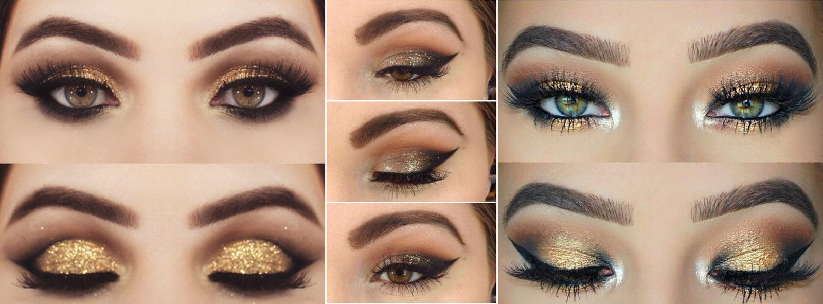 Макияж глаз на новый год в золотых цветах