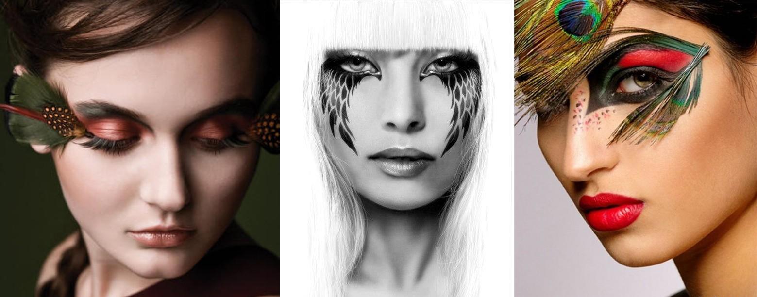 Новогодний макияж с рисунком и перьями