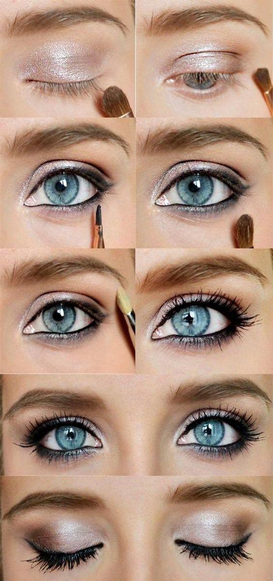 Пошаговый урок по повседневному макияжу для голубых глаз