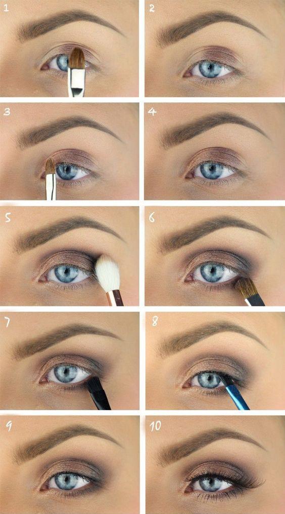 Пошаговый урок по дневному макияжу для голубых глаз