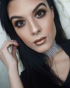 Бронзовый макияж с металлической помадой