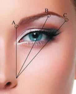 Определение основных точек при оформлении бровей