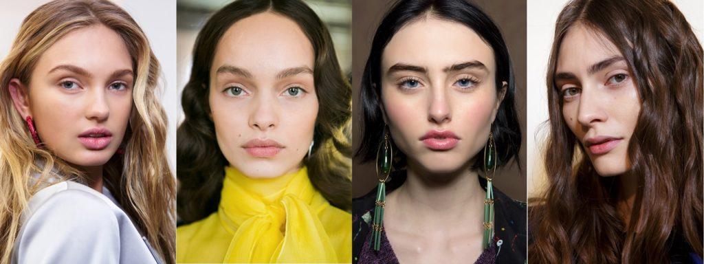 Натуральные брови в осеннем макияже