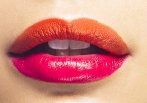 Контрастный макияж губ