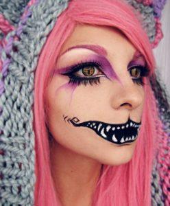 Яркий макияж Чеширского кота на Хэллоуин
