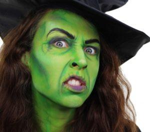 Макияж ведьмы с зеленой кожей