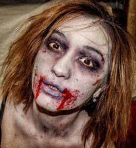 Макияж зомби для девушки на Хэллоуин