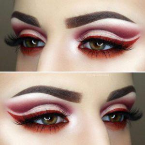 Вечерний макияж глаз в технике cut crease в красных оттенках