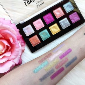 Свотчи палетки теней Love You So Mochi Eyeshadow Palette Electric Pastels от NYX