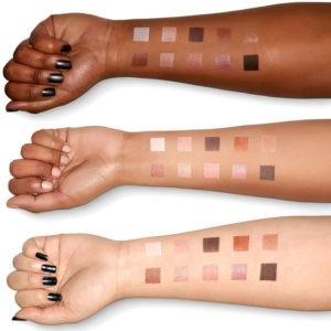 Свотчи оттенков теней Love you so Mochi Eyeshadow Palette Sleek and Chic от NYX для разных тонов кожи