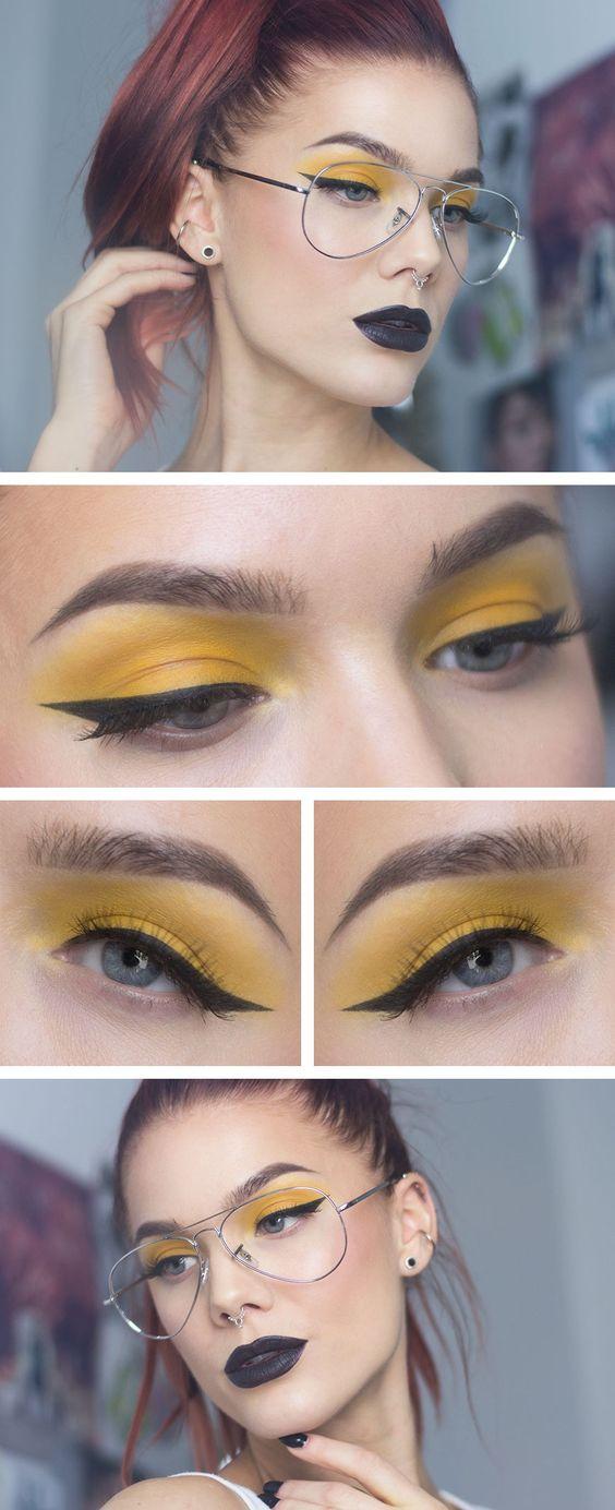 Желтые тени для век и подводка в макияже глаз