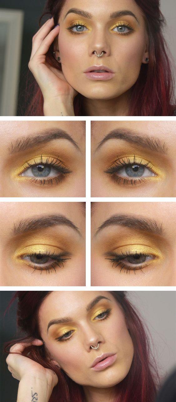 Макияж для голубых глаз в желтых тонах