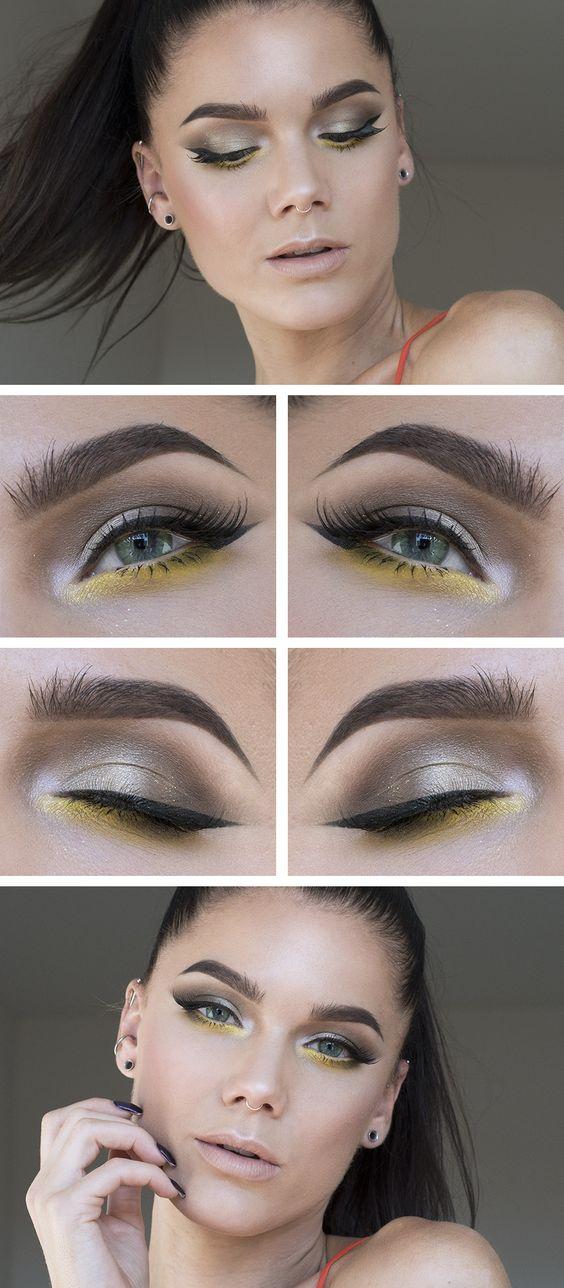 Желтые тени в макияже глаз, как акцент на нижнем веке