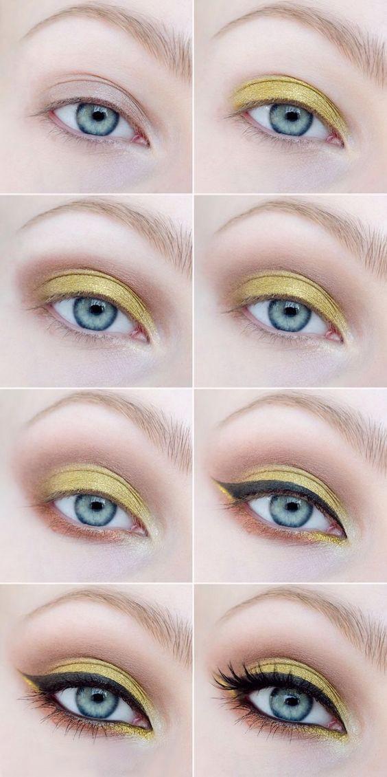 Пошаговый урок по макияжу с желтыми тенями