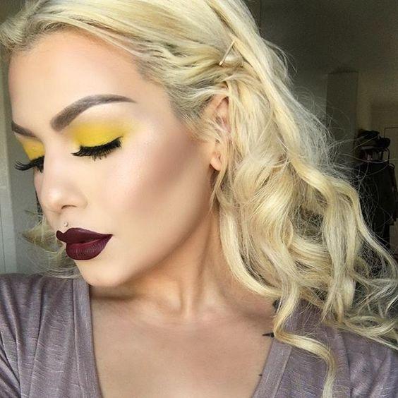 Макияж с желтыми тенями для век
