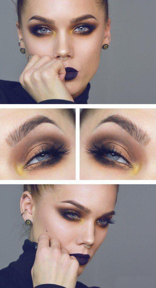 Желтые тени в макияже, как акцент на внутреннем уголке глаза