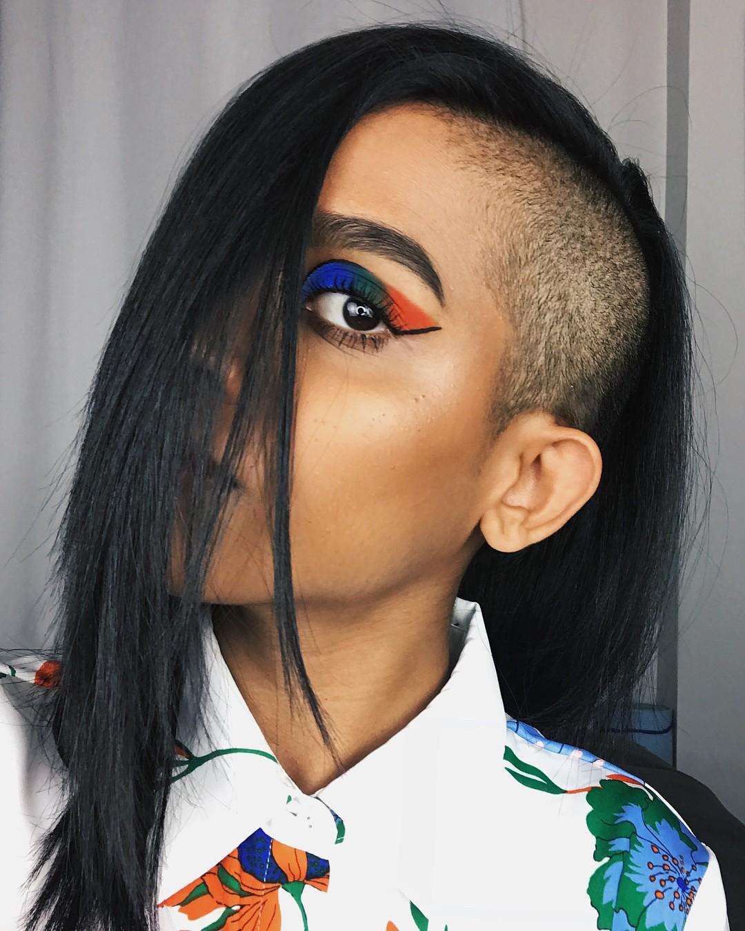 Многоцветный макияж в технике color blocking