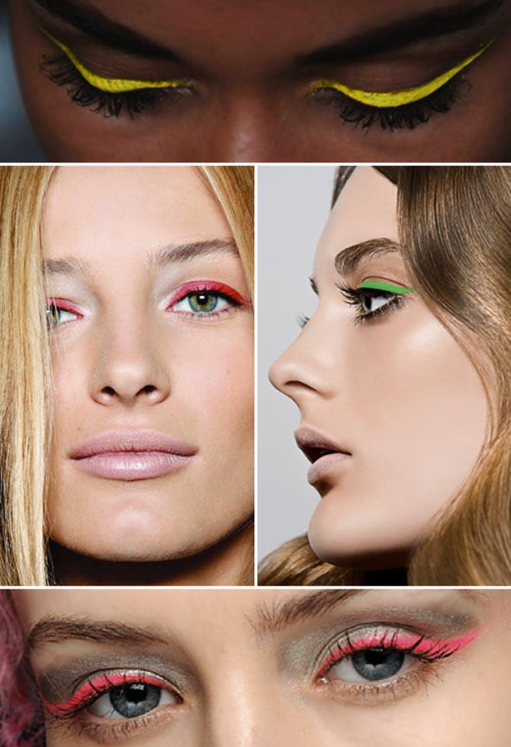 Яркие цвета подводки для макияжа в технике color block