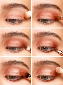 Пошаговый урок макияжа для голубых глаз коралловыми тенями