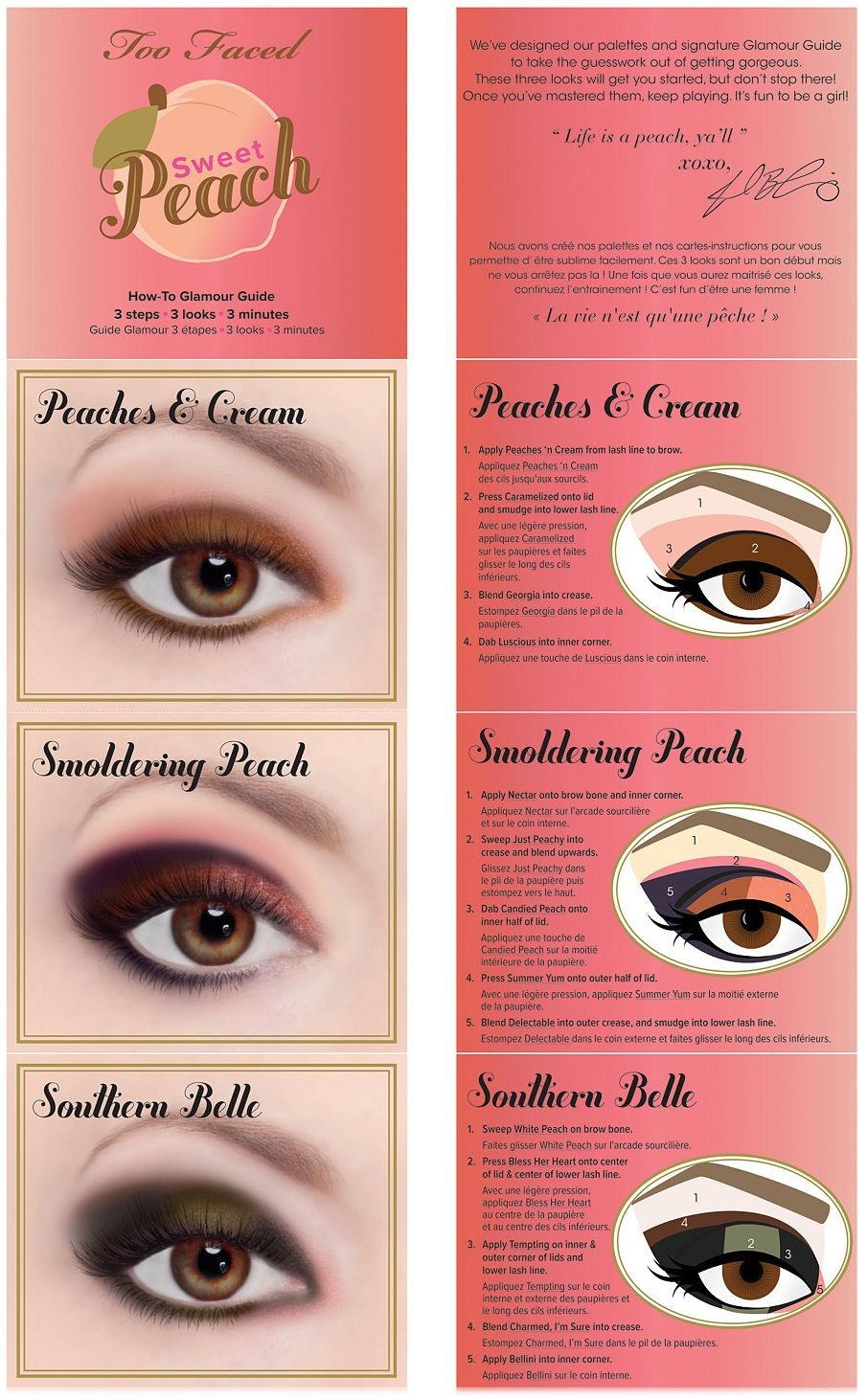 Примеры макияжей палеткой теней Sweet Peach от Too Faced