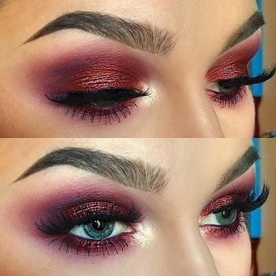 Макияж с бордовыми тенями