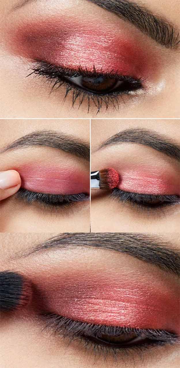 Дневной макияж с красными тенями