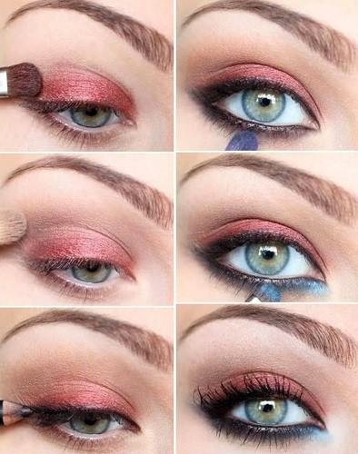 вечерний макияж с красными тенями