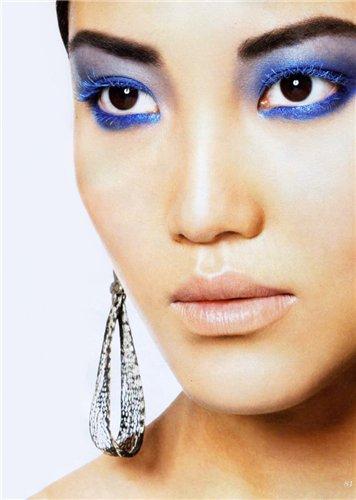 синие тени на карих глазах